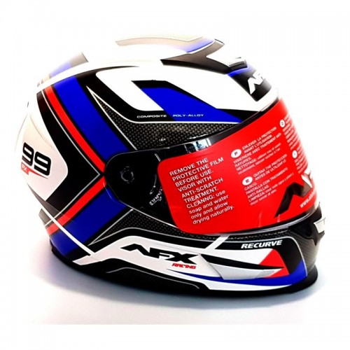 CASCO INTEGRAL AFX FX-99 RECURVE STREET HELMET RED/WHITE/BLUE